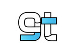 black blue alphabet letter gt g t logo company icon design