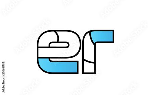 black blue alphabet letter er e r logo company icon design