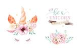 Isolated cute watercolor unicorn clipart with flowers. Nursery unicorns illustration. Princess rainbow poster. Trendy pink cartoon pony horse. - 200662304