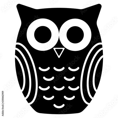 Foto op Plexiglas Uilen cartoon owl silhouette on a white background