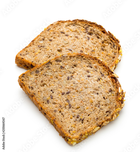 Whole wheat bread isolated on white background. - 200664367