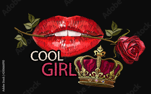 Embroidery female sexy gloss red lips with fresh rose flower in the teeth. Cool girl slogan. Embroidery lips, roses flowers and crown