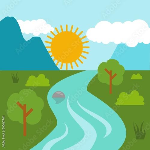 Foto op Plexiglas Groene koraal Sunny day landscape illustration