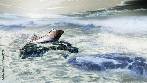 Foto op Plexiglas Schip old shipwreck boat abandoned stand on rock