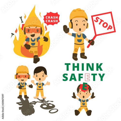 Set of Construction worker, Accident working, safety first, health and safety, vector illustrator