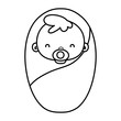 line beauty baby avatar with pacifier and blanket