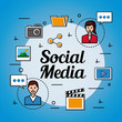 people social media icons tools girl and boy talking folder camera video vector illustration