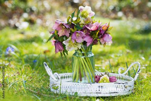 Foto Murales Christrosenstrauß auf einem Tablett im Garten