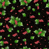 Seamless Christmas pattern of berries and holly leaves