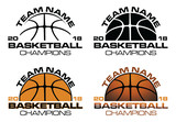 Basketball Champions Designs With Team Name is an illustration of a four versions of a basketball design that can be used for t-shirts, flyers, ads or anything else you use to promote your team.