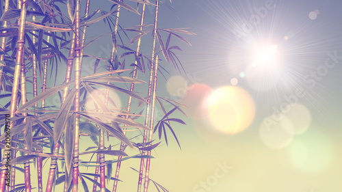 Foto op Canvas Beige 3D image of bamboo with vintage effect