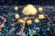 Cloud Computing with Osaka city in Japan at night