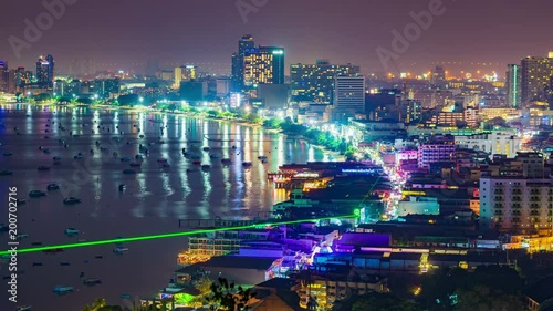 Wall mural timelapse of Pattaya city and the many boats docking at night
