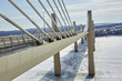 The new Stillwater Bridge in winter going over The St Croix River
