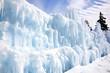 Winter blue ice castle in Stillwater Minnesota on St Croix River