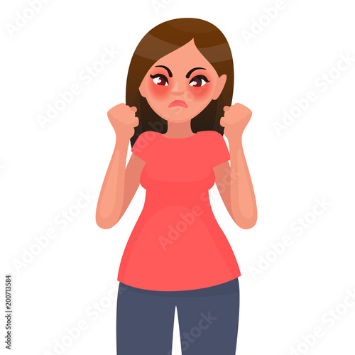 The woman is angry. Discontent. Vector illustration