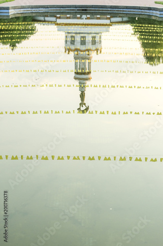 Foto op Plexiglas Kiev Ornaments reflected in the water. Patterns. Reflection of the National Expocenter of Ukraine.