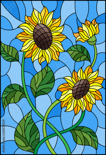 illustration-in-stained-glass-style-with-a-bouquet-of-sunflowers-flowers-buds-and-leaves-of-the-flower-on-blue-background