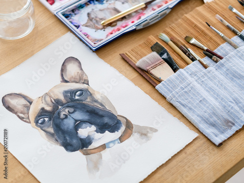 Foto Murales art therapy. painting classes or courses. creativity inspiration expression concept. watercolor picture of a dog