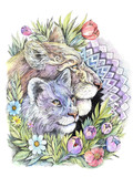Lioness and lion cub on the background of flowers and mandalas, - 200725590