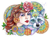 Beautiful woman with a raccoon on a background of mandalas and f - 200726159