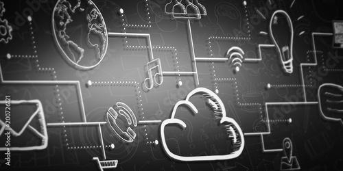 Ręcznie rysowane chmura szkic mulitmedia