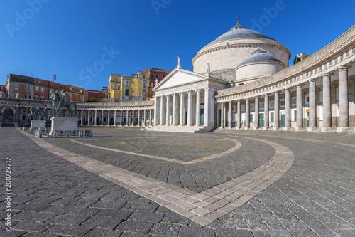 Fotobehang Napels San Francesco di Paola Church Piazza Plebiscito in Naples, Campania, Italy.