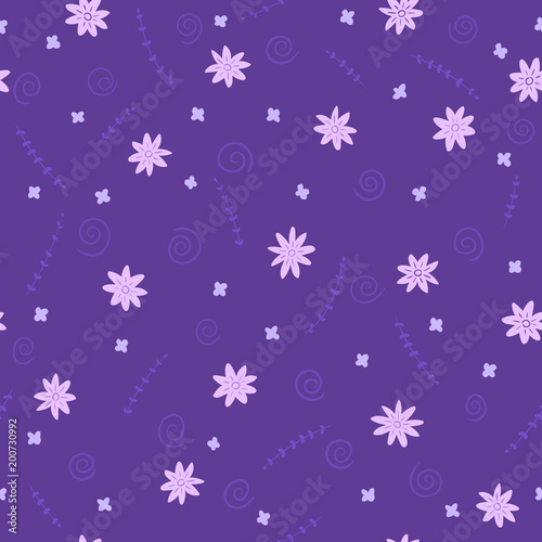 Seamless  ultra violet pattern with twigs and flowers. Graphic pattern for print on clothing. Pretty hand drawn vector texture.