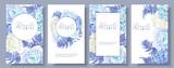 Floral blue banners set - 200731793