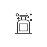 Liquid soap bottle outline icon. linear style sign for mobile concept and web design. Soap dispenser simple line vector icon. Symbol, logo illustration. Pixel perfect vector graphics - 200733366