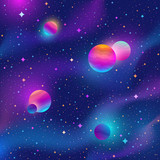Space background with colorful stars and planets . Vector illustration. - 200737363
