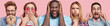 Collage shot of stressful dark skinned male, shocked pinup girl, blonde adorable woman blows cheek, cheerful beard male plugs ears, funny man in spectacles, express different emotions, pose indoor