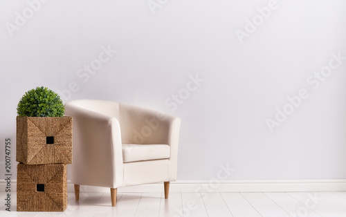 armchair on empty wall - 200747755