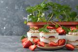 Summer dessert with strawberries