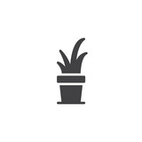 Small succulent in a pot vector icon. filled flat sign for mobile concept and web design. Houseplant simple solid icon. Symbol, logo illustration. Pixel perfect vector graphics - 200751700