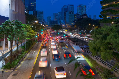 Street view of Singapore at night