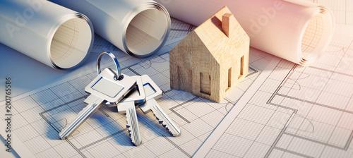 Leinwanddruck Bild Konzept eigenes Heim - Planung