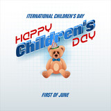 Design, background with 3d texts, teddy bear wearing bow tie for Children's day, event, celebration; Vector illustration