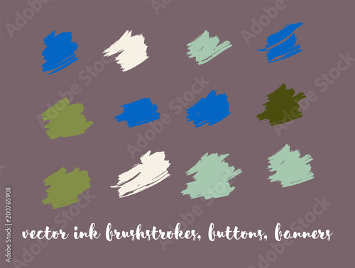 Ink Paint Vector Painted Backgrounds. Bright Colored Brushstrokes, Nice Textures Set. Artistic Colorful Button Collection. Grunge Dirty Vector Painted Backgrounds. Paintbrush Smeared Borders.