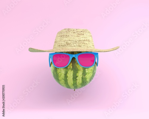 Summer times of funny attractive watermelon in stylish sunglasses with hat on pink background. minimal fruit concept. Creative idea foods and drinks that are typically enjoyed at summer festivals - 200770935