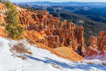 Scenic Winter Landscape in Bryce Canyon National Park Utah