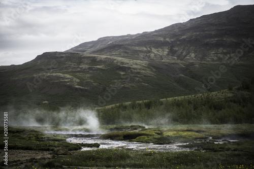Poster Grijze traf. Iceland Steam