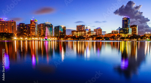 Sunset Lake Eola in Downtown Orlando