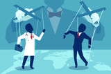 Flat style illustration of a person manipulating doctor and insurance agent behind the scenes. - 200779116