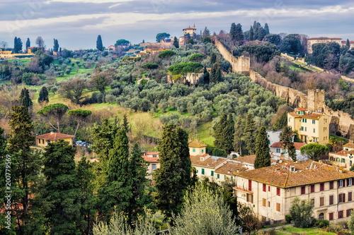 Foto op Plexiglas Florence Florenz mit Stadtmauer