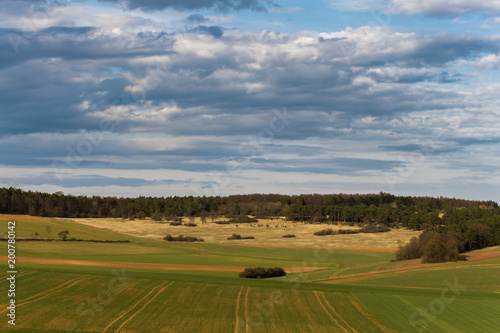 Landscape in the surroundings of the Rhön mountains near Bad Kissingen in Germany.