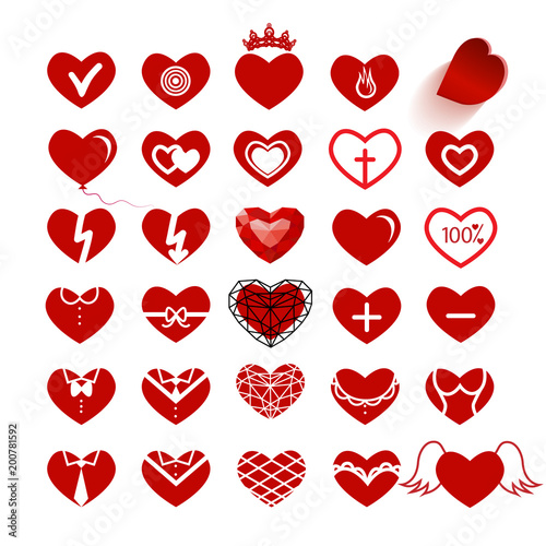 Patern with hearts. A set of different hearts. © Olivkairishka