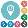 GPS map location details flat round icons