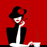 Stylized woman with cigar and cup of coffee
