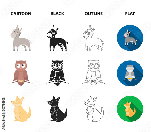 Donkey, owl, kangaroo, shark.Animal set collection icons in cartoon,black,outline,flat style vector symbol stock illustration web.